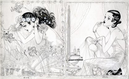Full view of 2 paneled illustration drawing