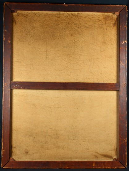 Verso view of old canvas on original pine stretchers