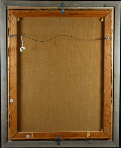 Verso view of old canvas back on original pine stretchers