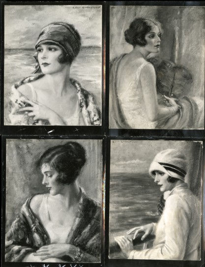 Vintage black and white photographs of other works from the exhibit, included in the sale.