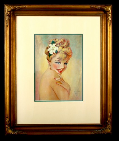 Framed and matted behind glass in period frame