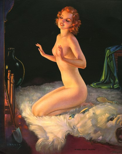 Vintage pin-up lithograph by The U.O. Colson Calendar Company included in sale.