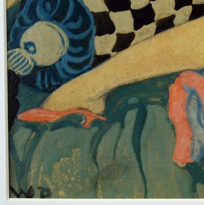 The artist's initials lower left