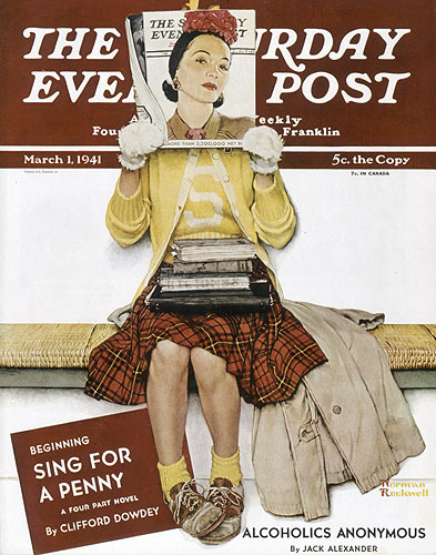"""Saturday Evening Post cover titled """"Girl Reading The Post"""" at the Norman Rockwell Museum"""