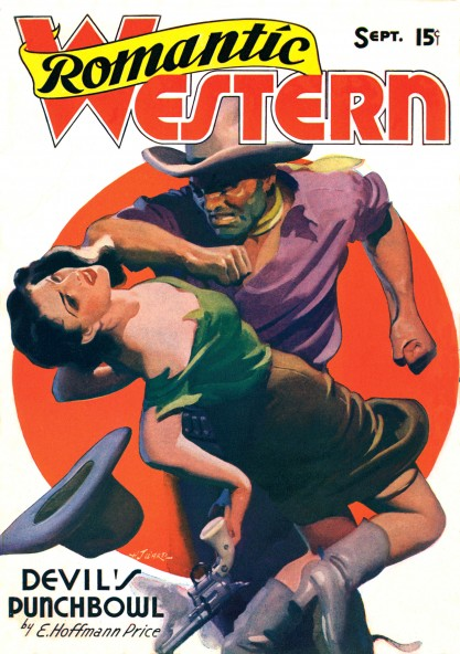 The painting as it appeared on the September 1938 edition of Romantic Western
