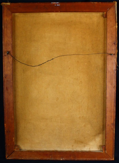 Verso view of untouched canvas on original wood stretchers