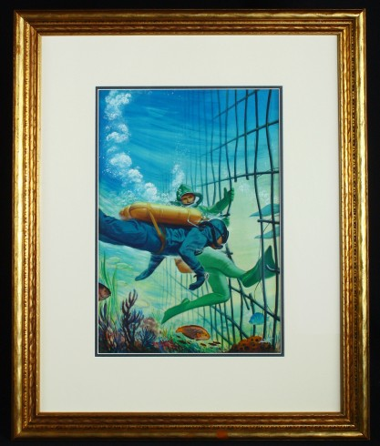 Framed and matted behind glass in period gold wood frame.