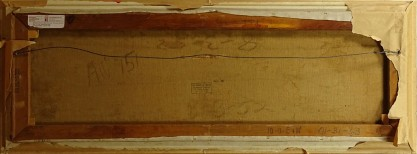 Verso view of untouched canvas on original pine stretcher bars