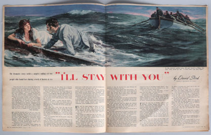 Two page interior illustration inside The American Weekly August 3, 1952 (included in sale)