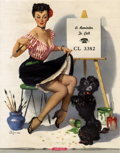 Vintage calendar print with advertisement text in canvas space (included in sale)