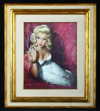 Framed and silk matted behind glass in period art deco frame