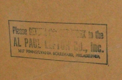 Pennsylvania RR verso ink-stamp with ad agency name