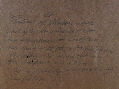 Hand written verso text on back paper detail