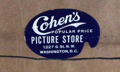 Washington DC framers label still adhered to backing paper