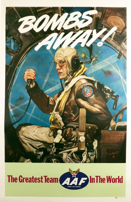 The artwork as it appeared as a 1944 AAF government issued war poster - Bombs Away!