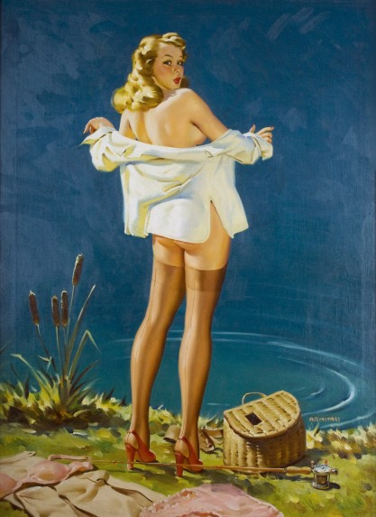 Full view of large sized pin-up oil painting