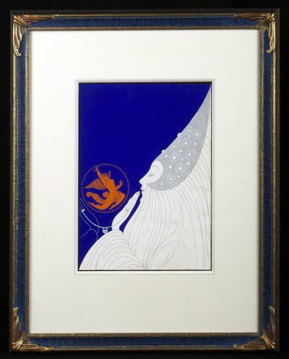 Framed under glass in custom made museum quality gesso frame