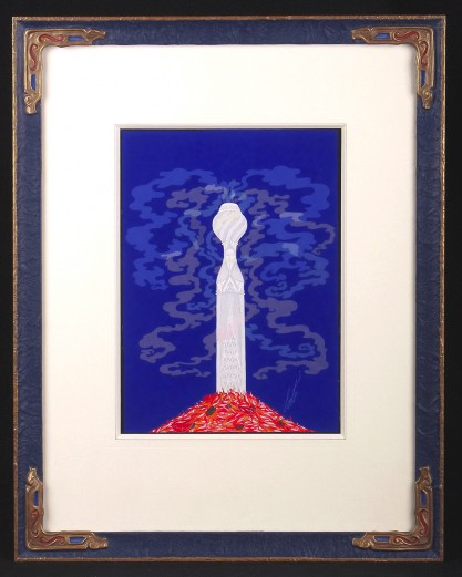 Framed and matted under glass view in museum quality custom made gesso frame