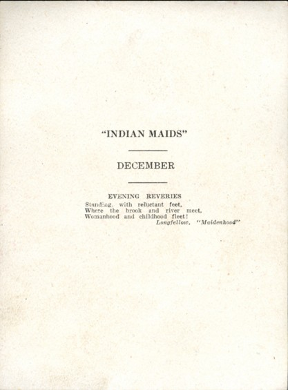 Verso view of print - with title and calendar usage text