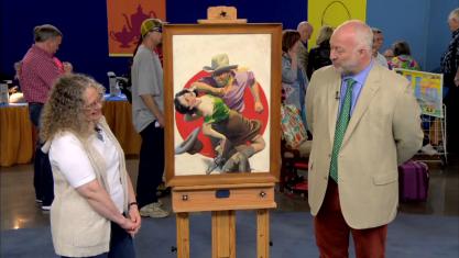 Alasdair Nichol appraising Devil's Punchbowl on PBS's Antiques Roadshow
