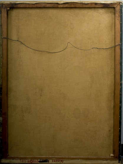 Verso view of untouched canvas back on original pine stretchers