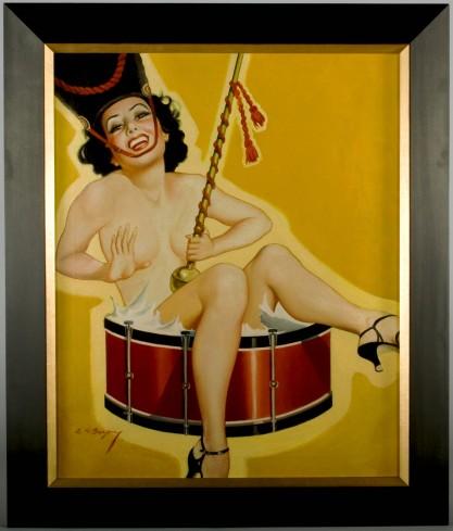 Framed in handsome gold and black gallery frame
