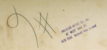 Verso ink stamp from American Artist Co. NY