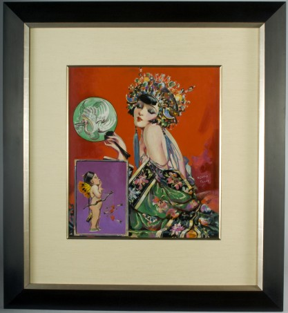 Framed and silk matted behind glass in museum quality art deco gallery frame