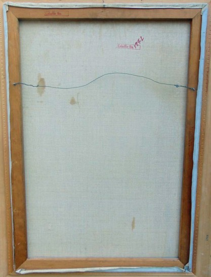 Verso view of untouched back canvas on original pine stretcher bars