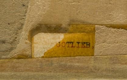 The artist's name on back verso corner detail