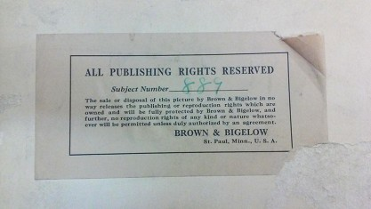 Verso Brown & Bigleow inventory label