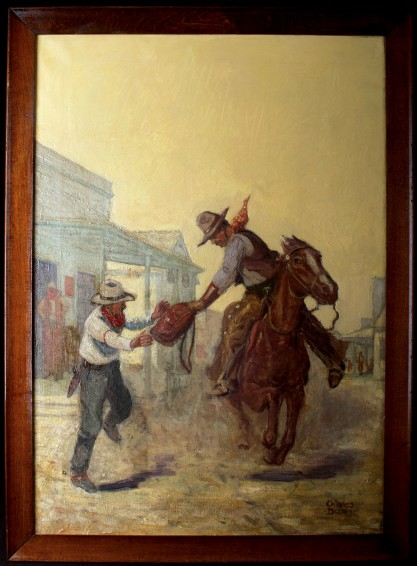 Framed in original stained simple wood frame view of oil on canvas cover painting.