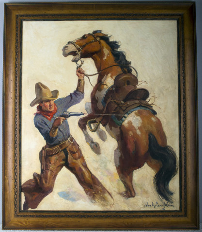 Handsomely framed in a rustic western themed gallery frame