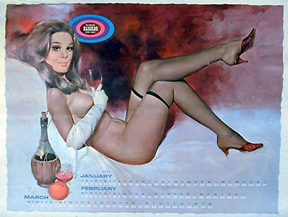 The pin-up painting as it appeared in calendar form