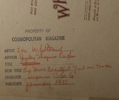 Verso notations with publication specifics in Cosmopolitan Magazine