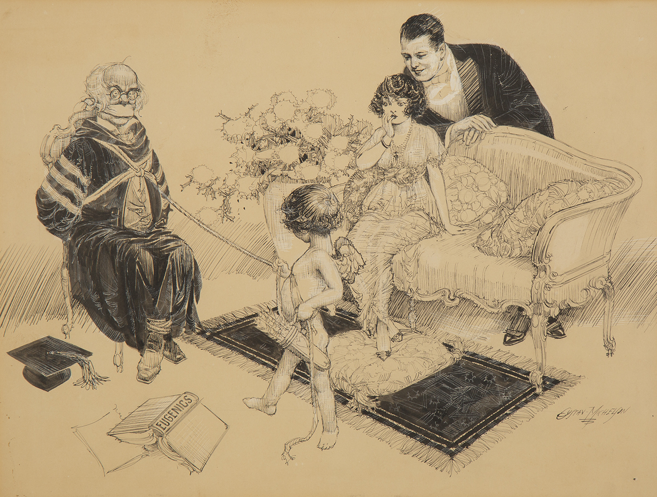 Full view of pen and ink drawing