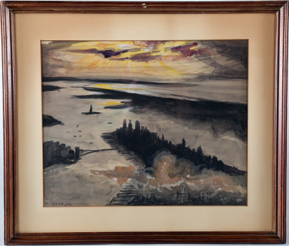 Framed and matted view in original still verso sealed wood frame