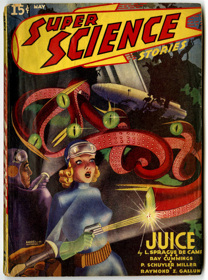 The illustration as it appeared as the cover of Super Science Stories - May, 1940 (included in sale)