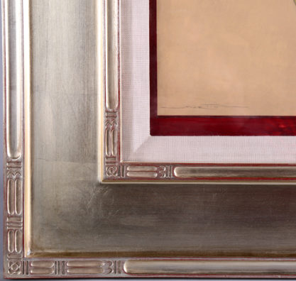 The artist's signature lower left and frame corner profile