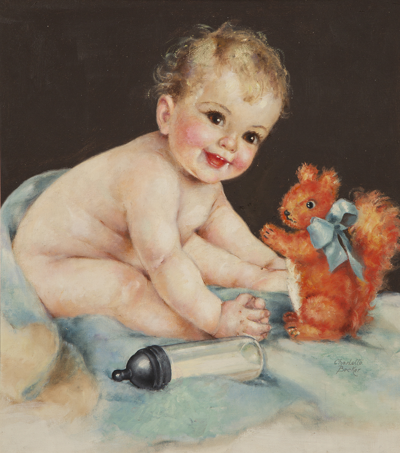 Full view of oil on canvas board illustration featuring a blonde haired baby playing with a toy squirrel