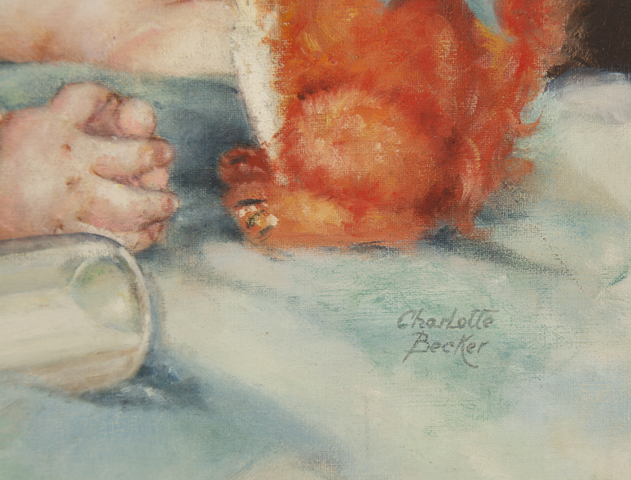 A detail view of the artist's signature in the lower right of the painting