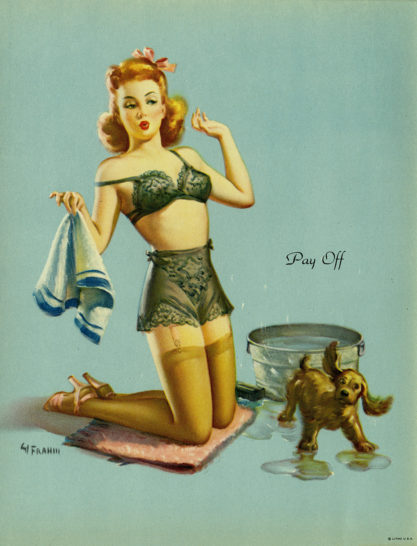 Vintage pin-up print of painting included in sale