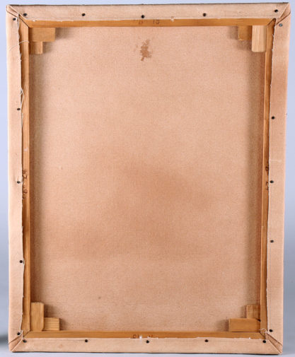 Verso view showing relined canvas and new stretcher bars