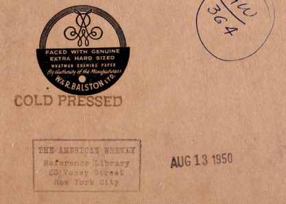 Verso date and usage ink-stamps