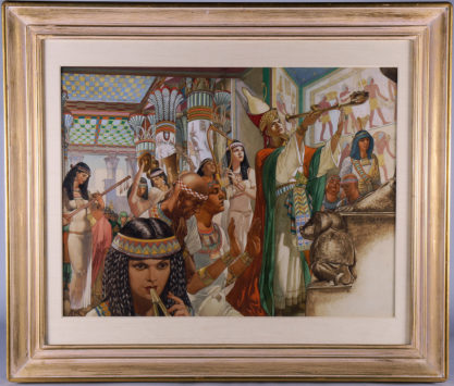 Framed and matted under glass in antique gold painted art deco frame