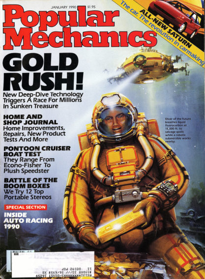 The illustration as it appeared on the cover of Popular Mechanics - January, 1990 (included in sale)