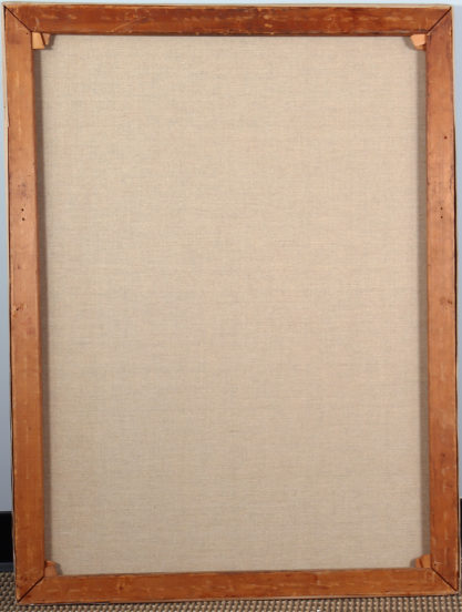 Verso view of relined back canvas on original pine stretcher bars