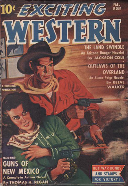 The painting as the cover of Exciting Western - Fall, 1942