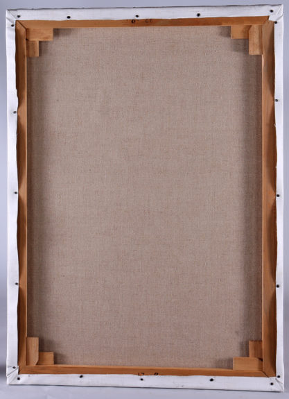 Verso view of relined back canvas on newly fashioned pine stretcher bars
