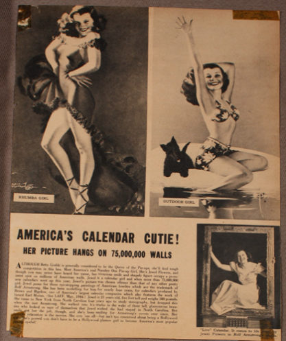 """An article on Jewel Flowers' popularity as a calendar girl featuring """"How Am I Doing?"""""""